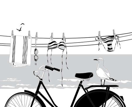 Beach in summer with bicycle, seagull and clothes hanging on clothesline