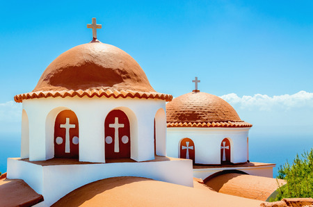 myconos: A view of a typical church with red roof on Greek island, Kalymnos, Greece