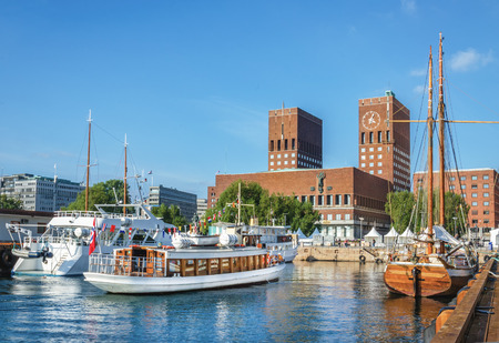 View of Oslo Radhuset town hall from the sea, Oslo, Norway Stock Photo