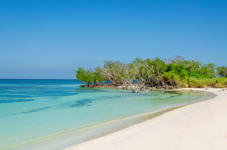 guadeloupe: Exotic beach with gold sand and blue sky, Caribbean Islands Stock Photo