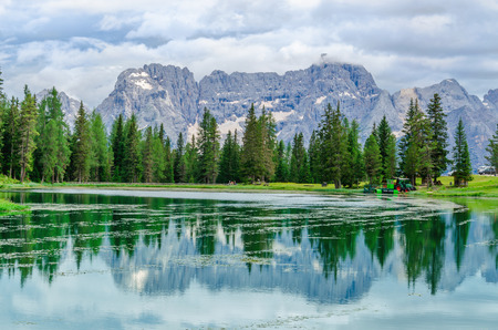 lake misurina: Lake Misurina aka lago di Santa Caterina and Auronzo di Cadore, Province of Belluno, Veneto, Sexten Dolomites, South Tyrol, Italy
