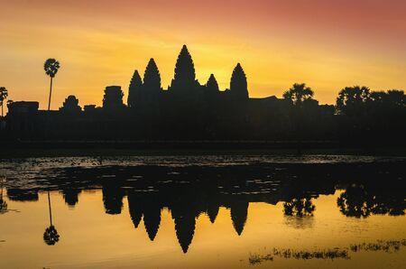 wat: Angkor Wat sunrise at Siem Reap. Cambodia