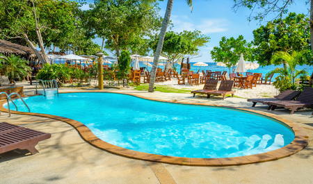 bali province: Palm at Luxury swimming pool with sunbed in Thailand