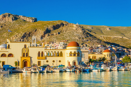 townhall: View of Pothia port and townhall on Kalymnos island, Greece Stock Photo