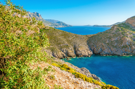 ionian island: View of amazing sea bay with clear water on Greek island, Greece