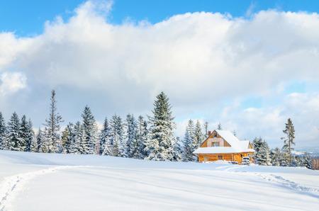 Houten huis met weg onder de sneeuw en één voet merken alleen