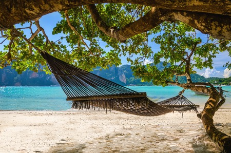 sri: Hammock hanging under exotic tree on beach with white sand below, Phi Phi Island, Phuket area, Thailand Stock Photo
