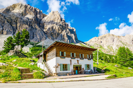 refuge: Refuge on the background of beautiful mountains, Averau-Nuvolau group, Dolomites Mountains, Italy
