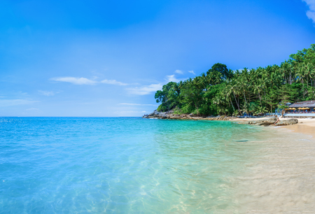 bali province: Paradise beach with golden sand, azure water and palm trees, Surin beach, Patong area on Phuket Island, Thailand