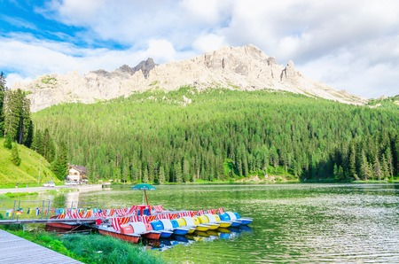 lake misurina: Lake Misurina - lago di Santa Caterina and Auronzo di Cadore, Province of Belluno, Veneto, Sexten Dolomites, South Tyrol, Italy