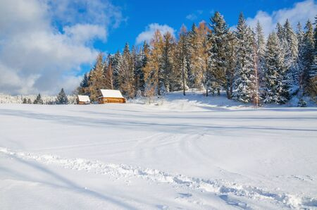 Winter landscape of remote village in cold winter day covered with snow photo