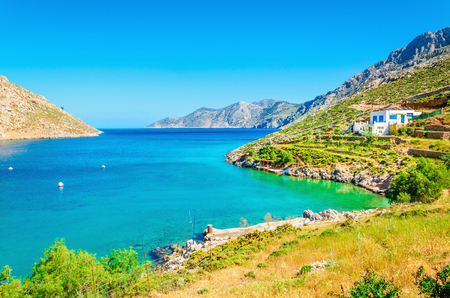peloponnese: Amazing sea bay on Greek Island  with clear water