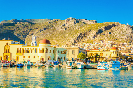 aegean sea: View of port and townhall in Pothia on Kalymnos, Greece