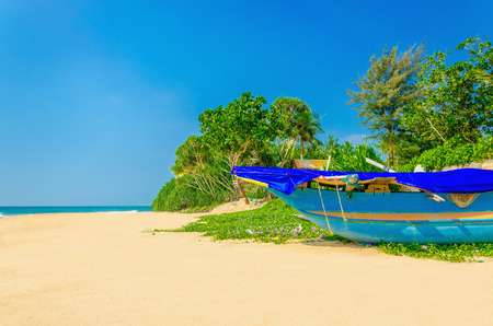 Exotic beach with colorful boat, tall palm trees and azure water, Sri Lanka, southern Asia Standard-Bild