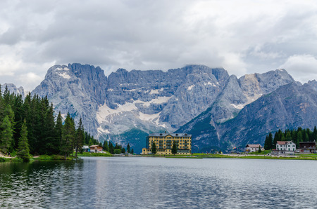 lake misurina: Lake Misurina with Grand Hotel Misurina, Dolomites Mountains, Italy Editorial