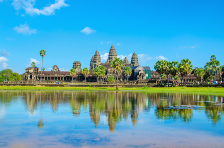 temple: Angkor Wat temple seen across the lake, Siem Reap, Cambodia