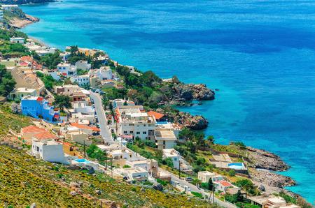 Typical Greek houses on the coast, Greek Islands, Aegean Sea