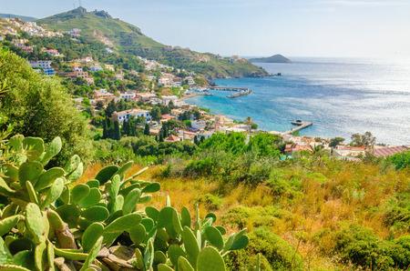 선인장과 해안, 그리스의 섬,에게 해에 전형적인 그리스 주택과 베이