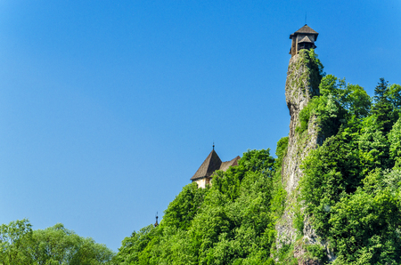 Orava castle tower, on the background of the blue sky, one of the most beautiful Slovak castles, Orava Podzamcze, Slovakia