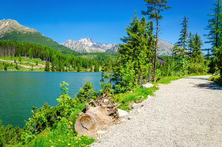 zakopane: Stone mountain path in high mountains and clear alpine lake in spring. Stock Photo