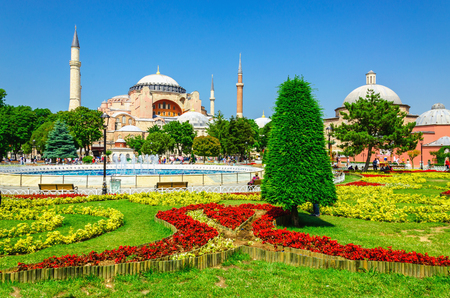 flowerbed: View of beautiful Hagia Sophia with a flowerbed with colorful flowers, Christian patriarchal basilica, imperial mosque and now a museum, Istanbul, Turkey
