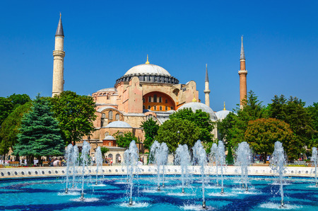 istanbul: View of beautiful Hagia Sophia with a fountain, Christian patriarchal basilica, imperial mosque and now a museum, Istanbul, Turkey