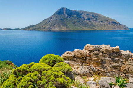 Remote vulcanic island viewed from Kalymnos island, Greece