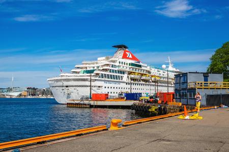 kiel fjord: OSLO, NORWAY - 21 JUNE, 2015 - Amzing large cruise ship in Oslo Fjord, Norway