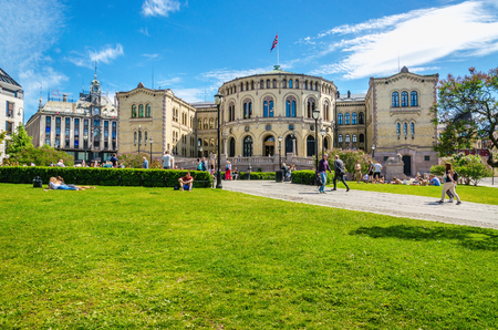 OSLO, NORWAY - 21 JUNE, 2015 -Parliament of Norway Oslo in beautiful spring day