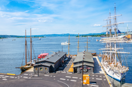 OSLO, NORWAY - 21 JUNE, 2015 - Beautiful white sailing ship moored in the Oslo Fjord, Oslo, Norway, Scandinavia