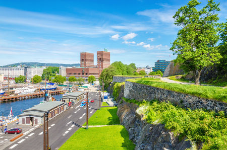 ramparts: City Hall in Oslo viewed from the ramparts of Akershus Castle, Oslo Fjord, Norway, Scandinavia