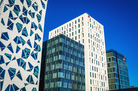 OSLO, NORWAY - 21 JUNE, 2015: The modern business district in Oslo on a background of blue sky, Norway, Scandinavia