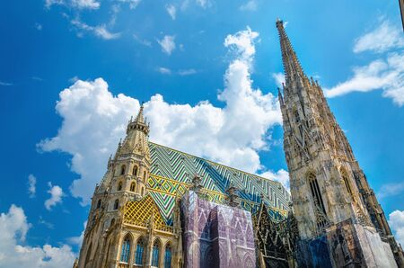 Amazing colorful St. Stephens Cathedral  the mother church of the Roman Catholic Archdiocese of Vienna and the seat of the Archbishop of Vienna Stock Photo