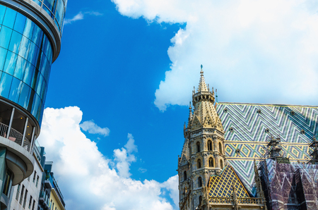 Amazing colorful Stephansdom  St. Stephens Cathedral against blue sky