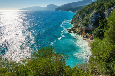 Amazing coast Golfo di Orosei in the sun, Sardinia, Italy