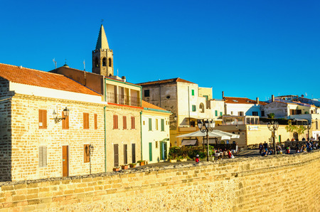 Beautiful Alghero and its ramparts, Sardinia, Italy Stock Photo