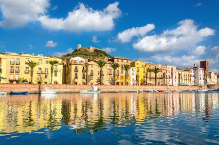 Colorful houses and old fort above Bosa, Sardinia Island, Italy, Europe Stock Photo