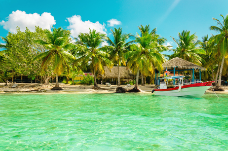 Exotic coast of Dominican Republic with high palms, colorful boats Stock Photo