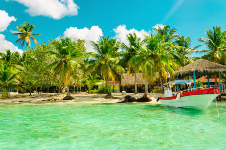 Amazing exotic palm tree beach with colorful boat, Dominican Republic Stock Photo
