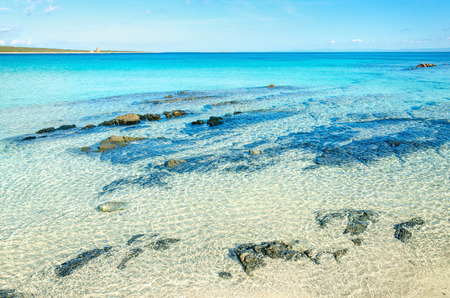 Beautiful beach with clear turquoise water, La Pelosa, Stintino, Sardinia Stock Photo