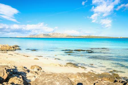 View of a wonderful La Pelosa beach in Stintino, Sardinia, Italy