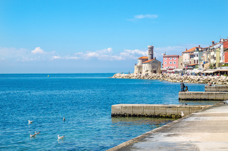 Beautiful promenade in Piran with colorful old houses, Slovakia, Europe