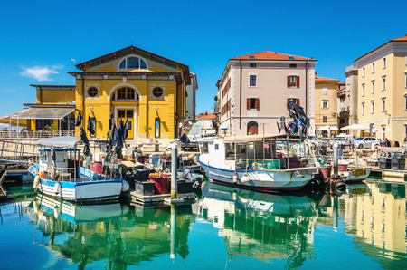 View on marina with boats and buoys in Piran, Slovakia, Europe