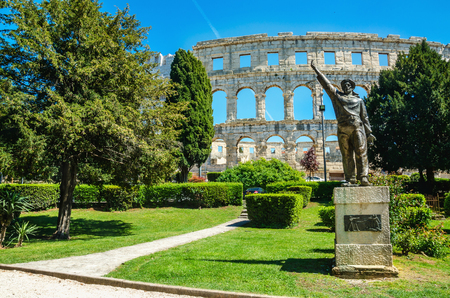 World War II Naval statue in Valerijin park, Roman Amphitheater. Pula, Istria, Croatia,