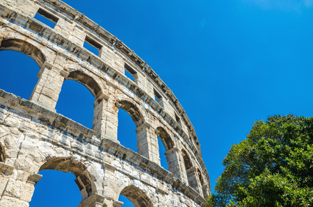 Roman Amphitheater against blue sky. Pula, Istria, Croatia, Europe