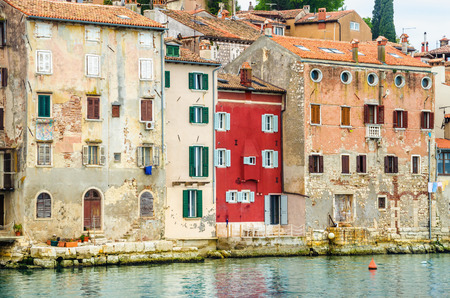 Beautiful old town Rovinj with colorful buildings, Istrian peninsula, Croatia Stock Photo