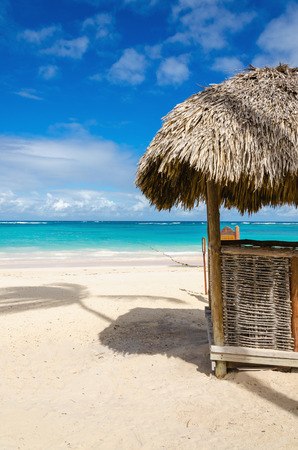 Amazing beach with exotic hut, Dominican Republic, Caribbean Islands Stock Photo
