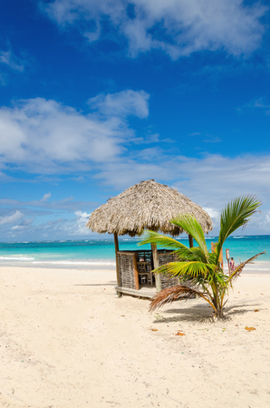 Amazing beach with exotic hut, Dominican Republic, Caribbean Islands Stock Photo - 87322940