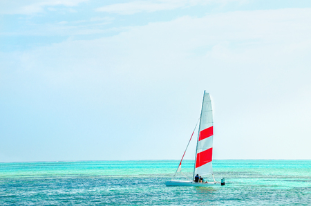 Windsurfing board against the azure water of the Indian Ocean, Maldives