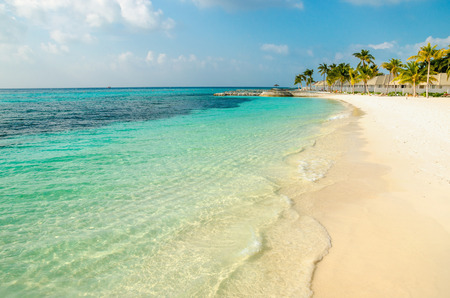 A beautiful sandy exotic beach on one of the Maldivian islands Stock Photo